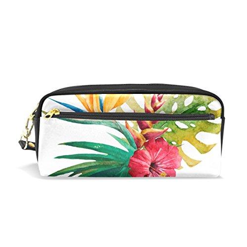 Eslifey Tropical Palm Paradise Fleur Pochette portable en similicuir PU Sac à crayons Imperméable Trousse cosmétique Maquillage Beauté