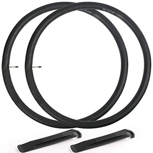 LotFancy 29 inch Bike Tube, 2Pack, 29 x 2.125, 29 x 2.20, 29 x 2.30, 29 x 2.40 Mountain Bike Tube, with 42mm Presta Valve, 2 Tire Levers Included
