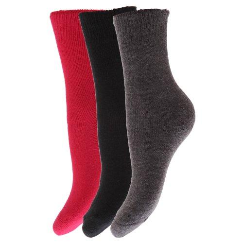Floso® Kinder Winter Thermo Socken (3-er Pack) (EUR 26-31 (5-7 Jahre)) (Schwarz/Grau/Pink)
