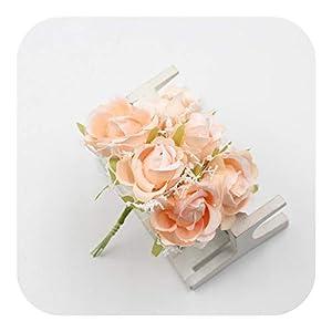 JIANS 6Pcs/lot Silk Lace Rose Artificial Flowers Bouquet Wedding Home Decoration Bridal Wreath Fake Flower Craft Gift Box Supplies-Orange-
