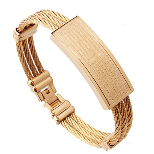 16mm Fashion Jewelry 316L Stainless Steel Gold Cable Wire Chain Mens Womens Bracelet Engraved Cross Bible Cuff Bangle