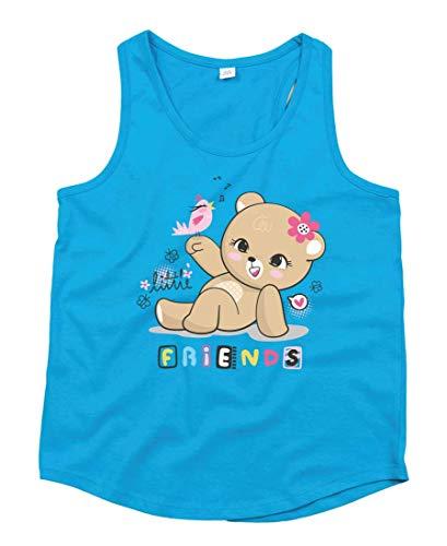 Camiseta sin Mangas con diseño de Oso de Peluche, Unisex, para niños y niñas Azul 98 cm