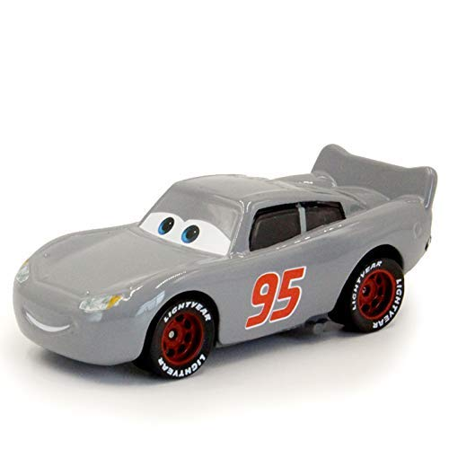 Pixar Cars Toys Lightning McQueen Grey McQueen Mack Hauler Truck & Racer Metal Toy Cars 1:55 Loose Kids Toys Vehicle (Grey McQueen Racer)