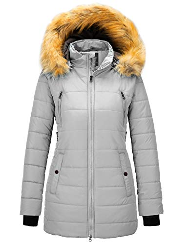 Wantdo Women's Insulated Winter Coat Thicken Puffer Coats with Fur Hood Gray L Iowa