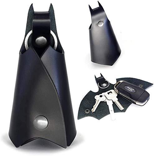 Llavero de Batman Cuero Sintetico, Estuche Cartera para Varias Llaves de Coche o Moto, Regalo Original - Piel Sintética, Color Negro