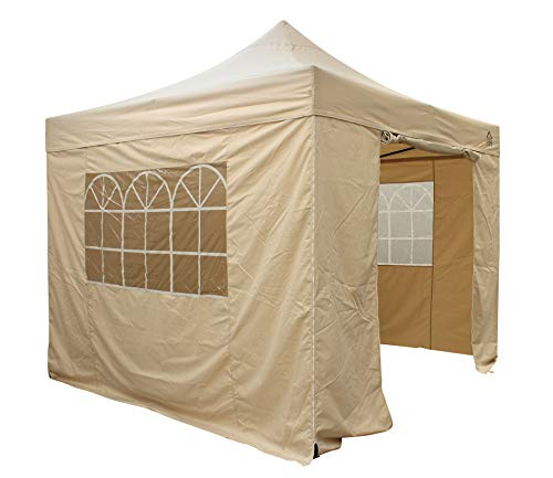 All Seasons Gazebos 2.5 x 2.5m Heavy Duty, Fully Waterproof Pop up Gazebo With 4 Side Walls (Beige)