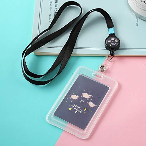 Mayoaoa - Funda para tarjeta identificativa con dibujos animados, de plástico, con cinta para colgar, color negro 11 x 7 cm