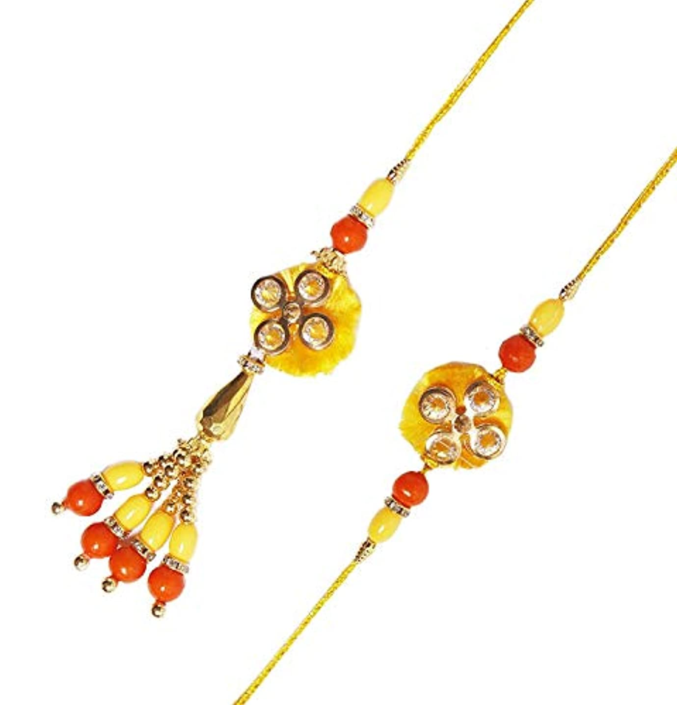 Lumba Rakhi Bhaiya Bhabhi Rakhi for Brother Bhai Bhaiya with Beads Raksha Bandhan Traditional Rakhee for Kids Indian Hindu Festival
