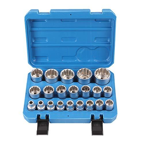 Steckschlüssel Satz 1/2 Zoll 8-36 Nüße Werkzeug 21-tlg Vielzahn 12-Kant SN1840