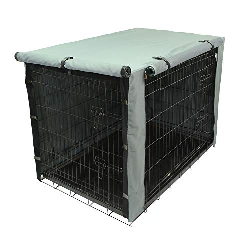 TOPEIUS Dog Crate Cover Cage Cover for 48inch Double Door Wire Crate, Durable Waterproof Pet Kennel Covers with Mesh Window Covers Kennel