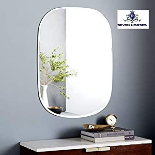 SEVEN HORSES Oval Bevelled Mirror (Glass_White_16x 24 Inch)