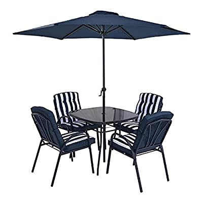 HECTARE Hadleigh Patio Parasol Dining Furniture Set 4 Seater Navy