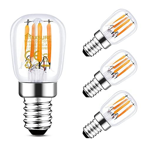 Maxsure LED Kühlschranklampe E14 LED Lampe 2700K Warmweiß, 2.5W Ersatz für 25W Halogenlampen, E14 Led Glühbirne 260 Lumen, Wasserdicht, für Tischlampen, Nähmaschinen, Dunstabzugshauben, 4er Pack