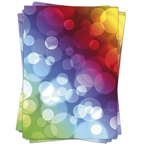 50 Blatt Briefpapier (A4) | Bunte Funky Regenbogen Blasen | Motivpapier | edles Design Papier | beidseitig bedruckt | Bastelpapier | 90 g/m²