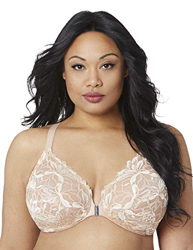Bramour by Glamorise Women's Full Figure Plus Size Underwire Front Close Racerback Floral Lace Bra-Noho #7005, Nude, 48C