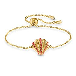 Dazzling Shell Bracelet In Red With Gold- tone plated