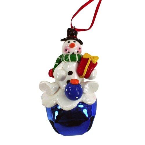 Albero di Natale Decorazioni per impastare figura Snowman su blu campana