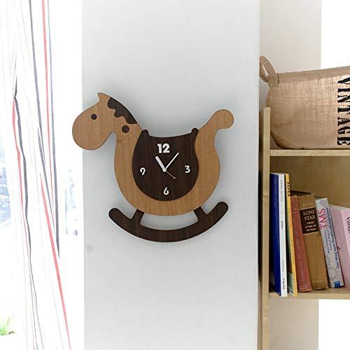 YH Braun Schaukelpferd Wanduhr Mute Kinderschlafzimmer Kindergarten Hauptdekoration-Versorgungsmaterial-Dekoration Handwerk Kinder Kreative Geschenke 38 * 35cm