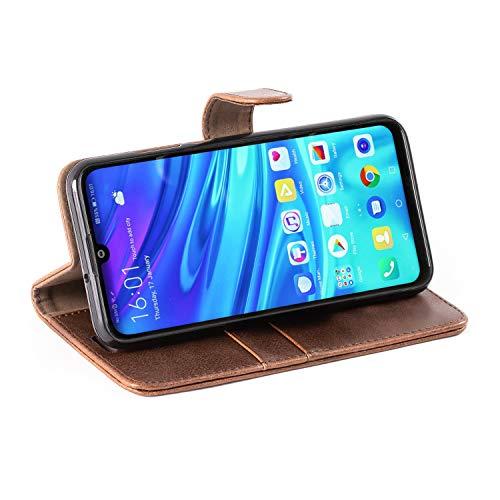 Mulbess Handyhülle für Honor 10 Lite Hülle, Leder Flip Case Schutzhülle für Huawei P Smart 2019 / Honor10 Lite Tasche, Vintage Braun - 7