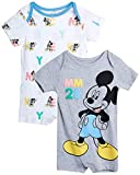 Disney Baby Boys' Mickey Mouse 2 Pack Short Sleeved Romper with Snap Closure (Newborn/Infant), Size 6-9 Months, Grey/White Mickey