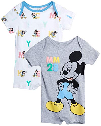 Disney Baby Boys' Mickey Mouse 2 Pack Short Sleeved Romper with Snap Closure (Newborn/Infant), Size 0-3 Months, Grey/White Mickey