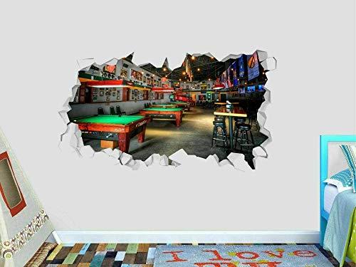 3D Etiqueta De La Pared Deporte De Billar 19.7X27.6 Pulgadas,Vinilos De Pared Destrozados Mural Calcomanías Para Dormitorio Pegatinas De Papel De Pared Desmontable.