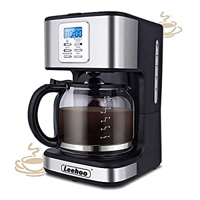 12-Cup Coffee Maker, Programmable Coffee Machine with Glass Carafe&Auto Shut-off&Brew Strength Control for Home,Office (Black and Stainless Steel Finish )