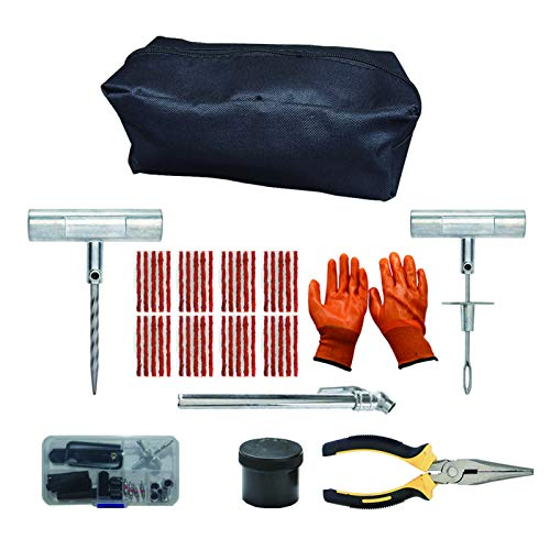 Kit de reparación de neumáticos de alta resistencia con guantes universales sin cámara para reparación de pinchazos para coches, camiones, SUV, ATV, motocicletas, cortacésped, tractores, autocaravanas