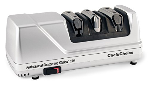 Chef'sChoice 130 Professional Electric Knife Sharpening Station for Straight and Serrated Knives Diamond Abrasives and Precision Angle Guides Made in USA, 3-Stages, Platinum
