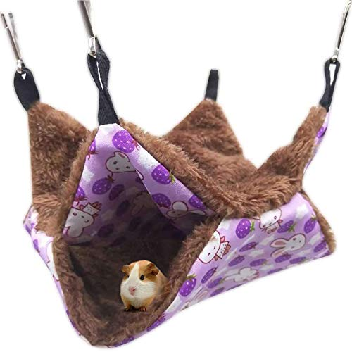MQUPIN Double Layer Pet Hammock Bed, Warm Hanging Bed for Ferret/Squirrels/Chinchillas/Hamster/Other Small Animals (Purple)