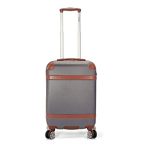 Maleta de Cabina 55x40x20cm. Equipaje de Mano para avión. Trolley de Viaje ABS con 4 Ruedas con Giro 360º y Cierre TSA. Vuelos Ryanair, Iberia (Gris)