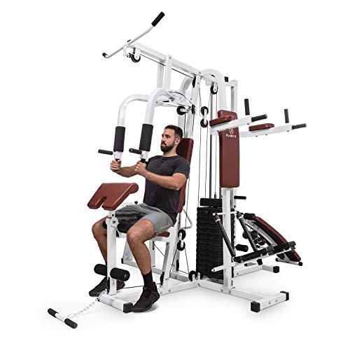 Klarfit Ultimate Gym 9000 Kraftstation - multifunktionale Fitnessstation, Trainingsstation, Ganzkörpertraining, inkl. Gewichten, 100 unterschiedliche Übungen, weiß