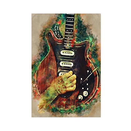 Brian May - Póster de guitarra eléctrica para decoración de pared, para sala de estar, dormitorio, decoración, 40 x 60 cm