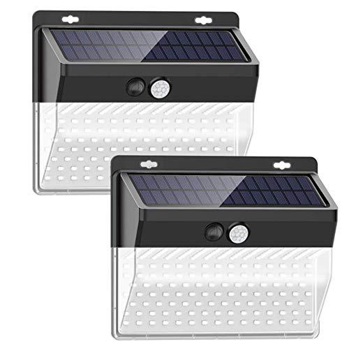人感センサーライト、高輝度ソーラーライト屋外、206 LEDソーラーモーションセンサーセキュリティライト省エネ IP65防水 ワイヤレスウォールライトガーデン、フェンス、外壁、駐車場 用の3つのモードを持つソーラーランプ(2個)