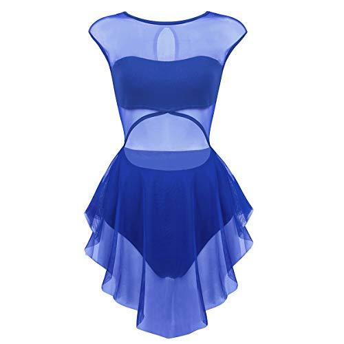 iiniim Damen Ballettkleid Ballettanzug mit Tüllrock Ballett Trikot Tanzkleid Latein Gymnastik Turnanzug Tanzkleidung XS-XL Blau S