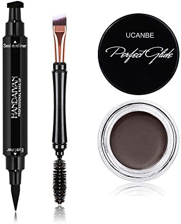 UCANBE Waterproof Eyeliner Cream Dual ended Black Liquid Winged Eyeliner Stamp Pen Two Head product image