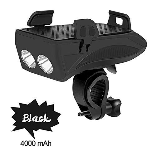 Bcamelys Fahrrad-Led-Licht Mountainbike Leuchte,Mit Handyhalter USB-Ladeanschluss 4000Mah,Mit Lautsprecher,Wasserdicht,StoßFest,400 Lumen,Für das Für das 4\'\' bis 6,3\'\'-Mobiltelefon,schwarz