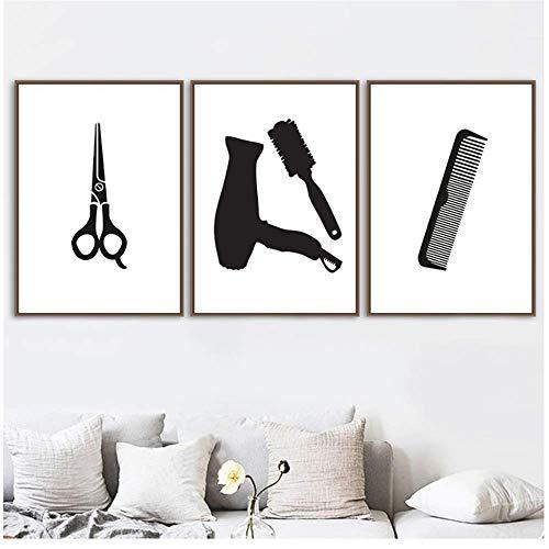RuiChuangKeJi Estilo nórdico 3x50x70cm sin Marco Pintura de Arte en Blanco y Negro Tijeras de Corte de Pelo Secador de Pelo Carteles e Impresiones Cuadros de Pared para decoración de peluquería