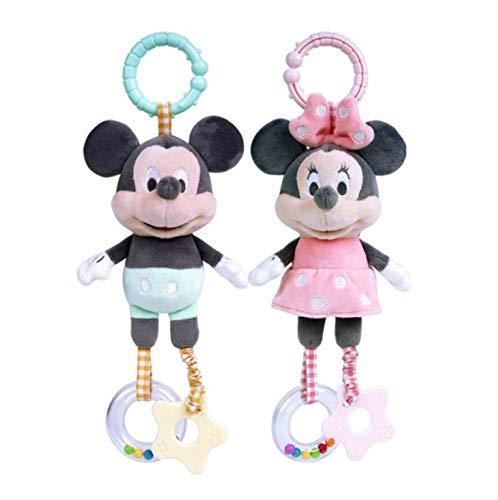 2 Uds Lindo Mickey Mouse Mordedor Carillón Juguetes De Peluche De 30 Cm, para Bebés Recién Nacidos, Cochecito, Muñeco De Peluche Suave