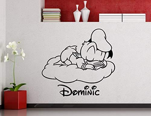 Wandaufkleber 3D Wandtattoo Wohnzimmer Personalisierte Donald Duck Kindergarten Benutzerdefinierte Baby Name Cartoon Home Decor Kinder Mädchen Jungen Zimmer