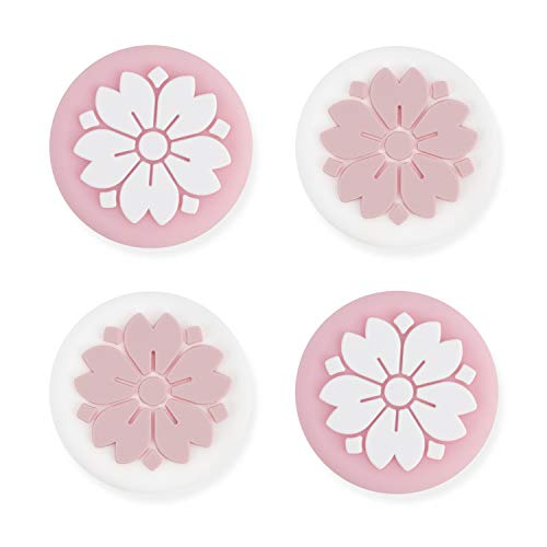 GeekShare 4Pcs Silicone Sakura Joy Con Thumb Grip Set JoystickCaps Switch and Switch Lite Cover Analog Thumb Stick Grips (Sakura)