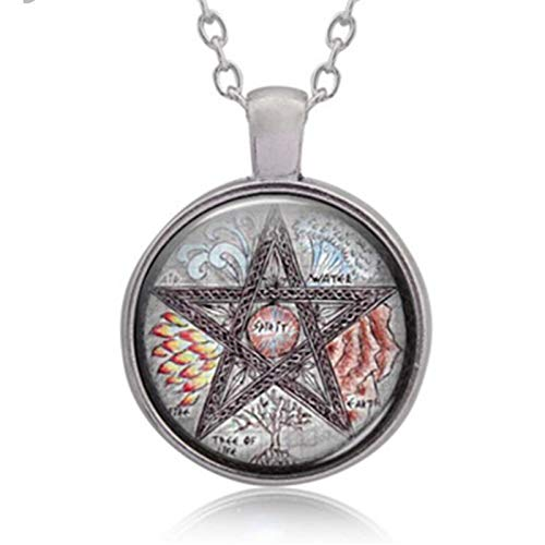 New 3 Colors Wiccan Wicker Five Wigs Five Elements Pattern Pendant Necklace Time Gem Fashion Jewelry Necklace