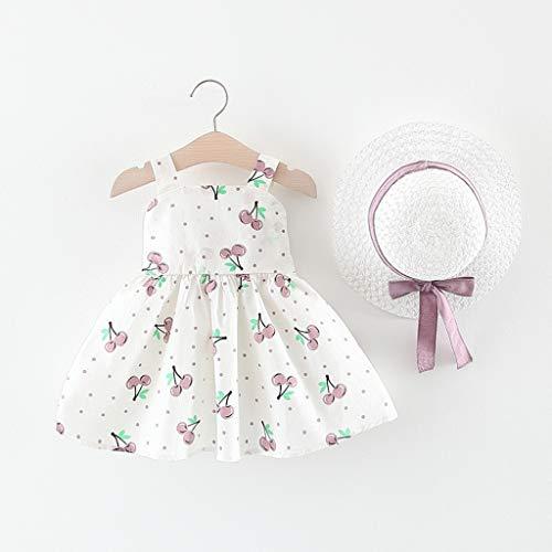 Julhold Vestido de princesa para bebé o niña, elegante, sin mangas, con diseño de cerezo, con lunares, de 0 a 3 años morado 12-18 Meses