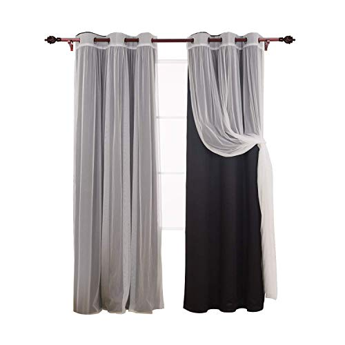Deconovo Grommet Top Drapes Mix and Match Set 2 Black Thermal Insulated Blackout 2 Tulle Lace White Sheer Curtain Panels for Bedroom, 42x63 Inch