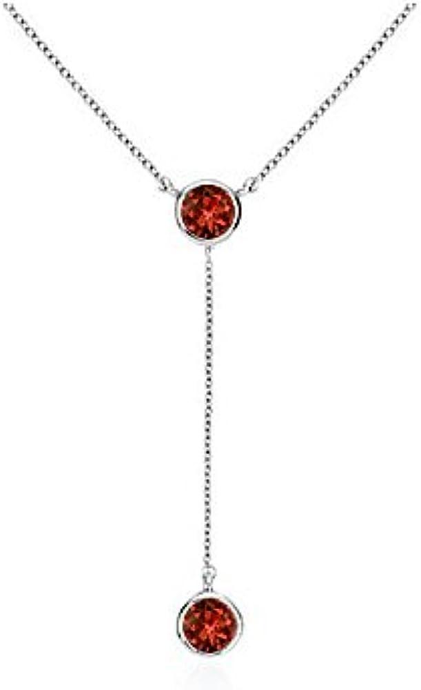 Bezel Set Garnet Drop Necklace in White Gold 14K Total Gem Weight of 0.20 Carat