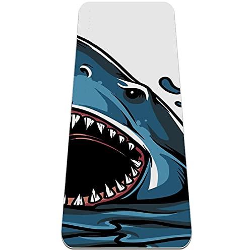 Alfombrilla de yoga TPE con textura antideslizante (0,6 cm/0,8 cm) de grosor acolchado de alta densidad para evitar dolores de rodillas, perfecto para yoga, pilates y fitness, tiburón fuera del agua