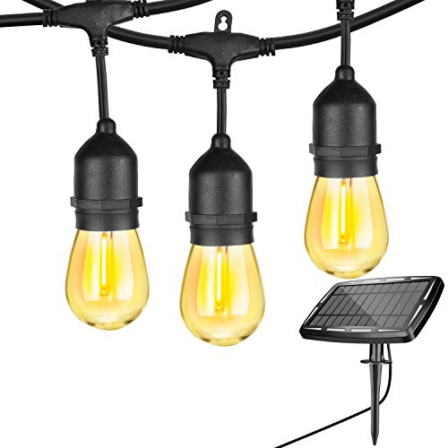48FT Solar String Lights Outdoor Waterproof ,with 15 Hanging Sockets S14 Shatterproof LED Edison Bulbs for Patio, Garden, Backyard,Balcony,2200K,Warm White