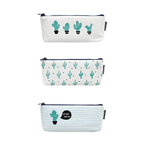 Yuccer Estuche de lápices, Bolso de Lona de una Sola Bolsa de Almacenamiento de Maquillaje cosmético para Adolescentes Escuela Grande (Cactus, 3 Pack)