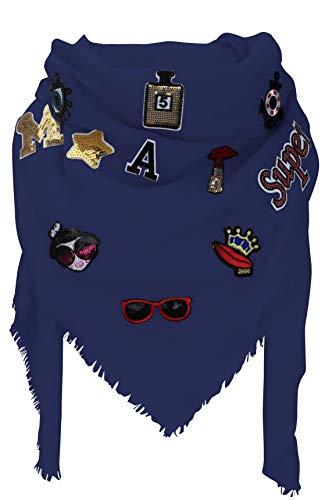 XXL PATCHES Damen STICKER Karo Schal Tuch Deckenschal Karoschal Halstuch Fashion Plaid (Blau)
