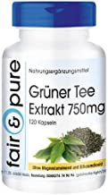 Té verde descafeinado en Cápsulas - Extracto de té verde 750mg - Vegano - 120 Cápsulas